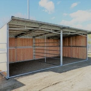 KRE 12x24 Open Front Plywood Shelter With 5 Rail Divider And Tin Roof Overhang