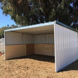 KRE 12x12 Open Front Shelter With Tin And Plywood Siding And A Tin Roof